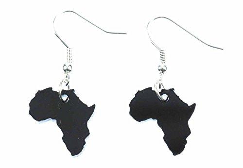 Pendientes de la joyería hecha a mano de plata de la manera plateado I - Miniblings africa suspension de los pendientes de Rasta del reggae Continente País acrílico negro