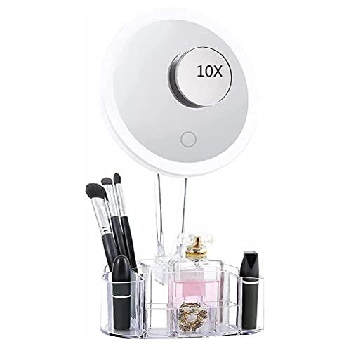 Gogias Espejo de maquillaje iluminado, espejo de maquillaje con luces LED, 10 aumentos LED espejo de maquillaje con caja de almacenamiento, interruptor táctil de rotación de 90 grados