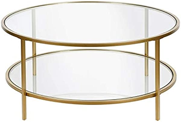 Henn Amp Hart Coffee Table In Gold With Glass Shelf