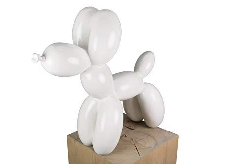 KunstLoft® Skulptur 'Fly Away' in 46x50x18cm | Moderne Kunststein-Figur | Abstrakt Luftballon Hund Groß Weiß Modern | Statue als Unikat - Handgefertigtes Kunstwerk | Schöne Wohnzimmer-Dekoration