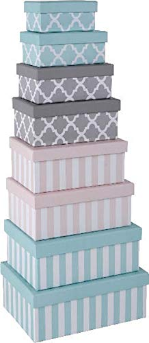 Paper Collection Geschenkschachtel Kartonage Box 8er Set Streifen Ornamente blau rosa grau rechteckig