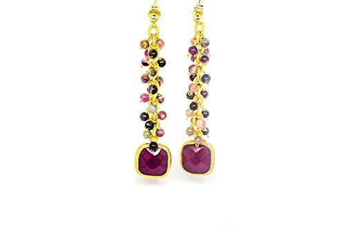 Kokomorocco Pendientes mujer largos con turmalinas, cadena eslabones oro y ágata color burgundy, perfectos para fiesta, boda, ocasión especial Regalos Originales