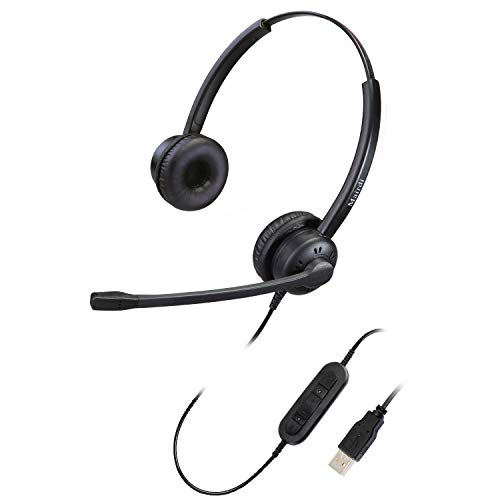 USB Headset mit Mikrofon Noise Cancelling Stereo, PC Headset Overear für Computer Laptop büro CallCenter Homeoffice Business Softphone Skype Chat Telefon Konferenz Webinar Dragon Spracherkennung