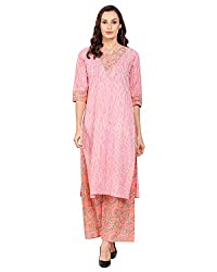 Harshana Womens Printed Kurta With Palazzo Set (Pink)