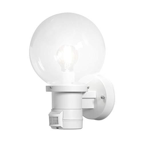 Konstsmide Outside Lighting Nemi Up Sensor Outdoor Wall Light/PIR Sensor-Motion Detector/1 x 60 W E27 Max Wall Lamp/Clear Glass Globe/Plastic/IP44/Outside Light White