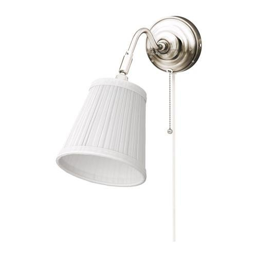IKEA ARSTID–Lámpara de pared contemporánea con luz bombilla E12200lúmenes 3,5W–bañado en níquel–blanco pantalla–703.012.45