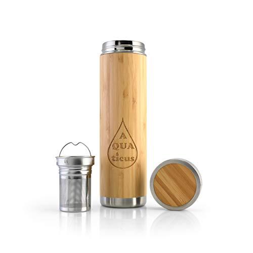AQUAticus Bambus-Thermoflasche 500 ml Teeflasche mit Sieb Thermobecher to go auslaufsicher Nachhaltige Trinkflasche aus Bambus Edelstahl Für Früchte Tee Zero Waste Produkte Travel Mug