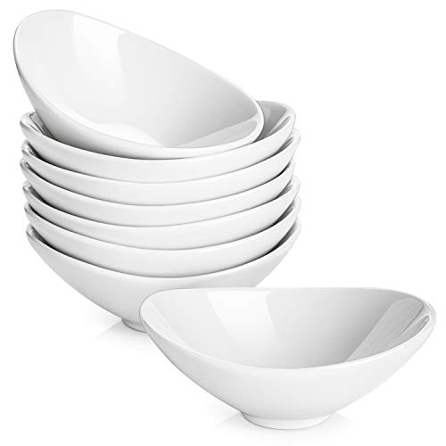 LIFVER 8 Pack Porcelain Dip Bowls, Mini Bowl Set, Ramekins, White