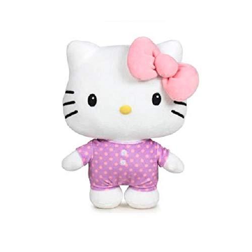 "Desconocido Sanrio - Peluche Hello Kitty Pyjama Party, 36 cm (14""), Couleur Lilas, Rose, Texture Super Doux, Jouet (Pyjama Lilas Nœud Rose)"