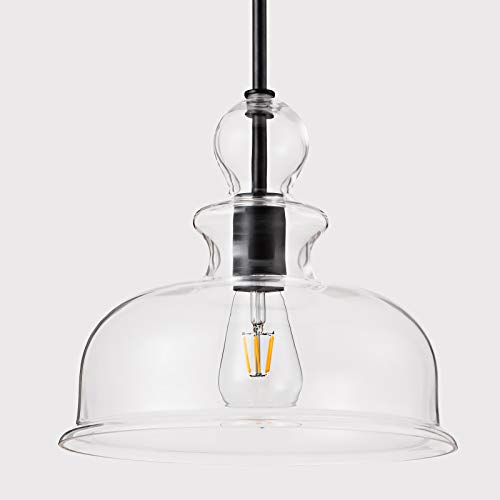 Vintage Farmhouse Pendant Lighting with Clear Glass Shade Industrial Large Thickness Dome Pendant Light Adjustable Hanging Lamp Ceiling for Kitchen Island Sink Bar Coffee Restaurant, Black