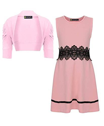 LOTMART Mädchen Spitzen Taille Kleid Und Schulterjacke Bündel (Packung 2) - Pfirsich und Hellrosa, 122-128