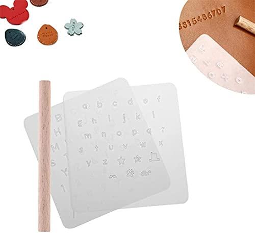 Juego de sellos de alfabeto de cuero transparente, herramientas de estampado de números de letras, sellos de alfabeto, kit de perforación con mango