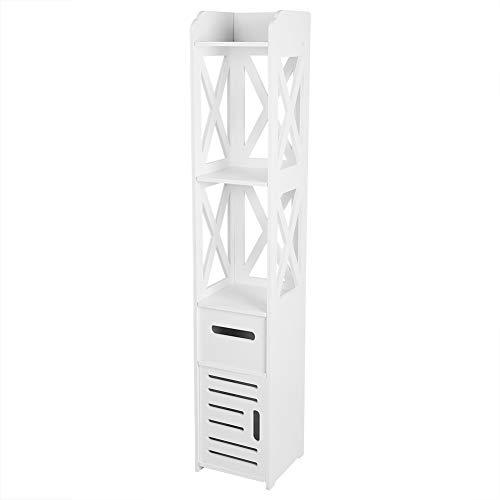 Dioche - Mueble alto de baño, armario de pie de baño con columna con cajón y 2 estantes, armario de columna de baño con puertas de estilo persianas, blanco, 120 x 22 x 22,5 cm