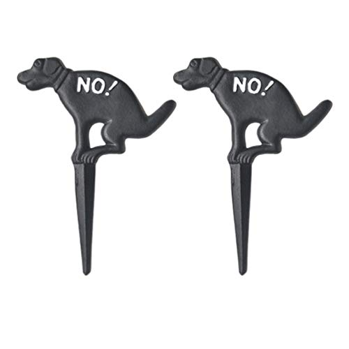 Cabilock 2pcs Dog Sign Peeing No Pee Dog Signs Stop Dogs from Peeing on Your Lawn Courtyard Yard Garden Grass Iron Insert Tag Black
