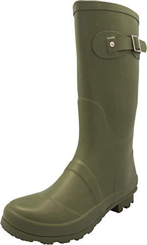NORTY - Womens Hurricane Wellie Solid Matte Mid-Calf Rain Boot, Olive 40706-8B(M) US