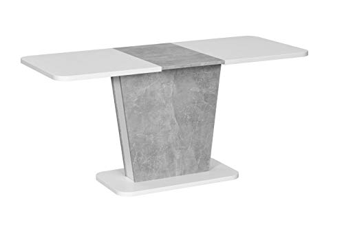 Interdesign24 Esstisch Ausziehbar Erweiterbar Säulentisch in Beton Weiss