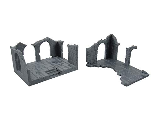 EnderToys Destroyed Brick Buildings, Terrain Scenery for Tabletop 32mm Miniatures Wargame, 3D Printed and Paintable