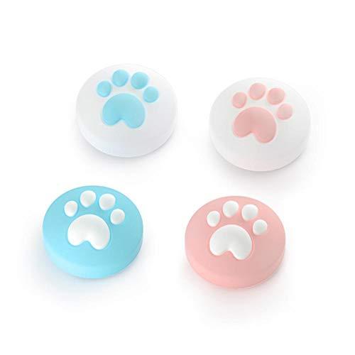 4 piezas de lindas tapas de agarre para el pulgar con diseño de garra de gato, tapa de joystick compatible para Switch & Lite, cubierta de silicona suave compatible para controlador Joy-Con