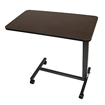 Roscoe Medical Bed Tray Overbed Table with Wheels - Rolling Tray Table for Bed or Chair - Bed Side Table for Laptop Eating Brown