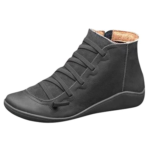 XHLEMON Retro Arch Support Boots for Women Comfortable Side Zipper Platform Wedge Ankle Booties Flat Boots