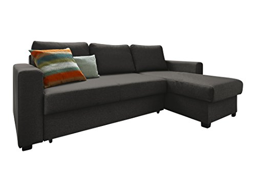 Atlantic Home Collection DUBLIN Schlafsofa, Polsterecke mit Federkern und Bettfunktion, Stoff, Anthrazit-Schwarz, 150 x 234 x 89 cm