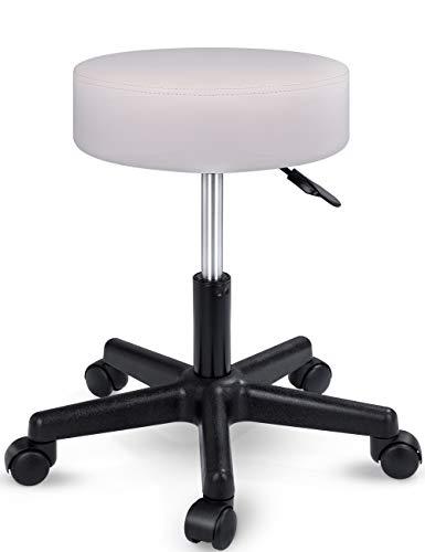 TRESKO Taburete con ruedas taburete giratorio cosmético de trabajo consulta, regulable en altura, giratorio en 360°, con asiento acolchado de 10 cm y 8 variantes de colores (Beige)
