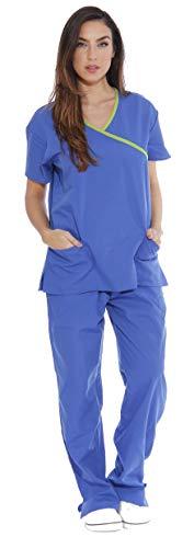 11147W Just Love Women's Scrub Sets / Medical Scrubs / Nursing Scrubs - L, Royal Blue with Lime Trim,Royal Blue With Lime Trim,Large