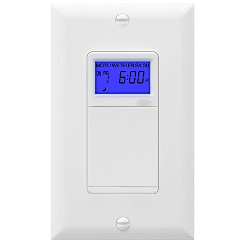 TOPGREENER Digital Astronomic Timer Switch, 7-Day Programmable Sunrise Sunset, Single-Pole or 3-Way, Neutral Wire Required, 120VAC, UL Listed, TGT01-H, White
