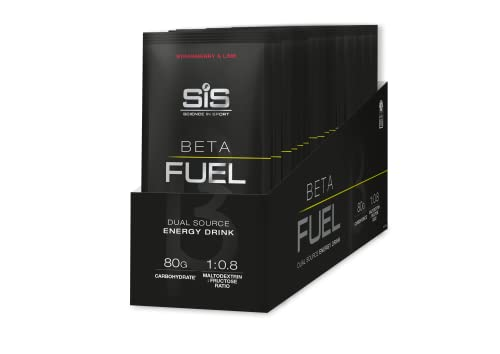 SIS Confezione da 15 Energy Drink in Polvere BETA FUEL, Forniscono Energia ed una Erogazione Isotonica Rapida da 80 g di Carboidrati, Adatto agli Esercizi di Resistenza. 82 g - Gusto Fragola&Lime