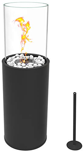 Runder freistehender Bio-Ethanol Stand-Kamin 80.5 x 26.5 x 26.5 cm, schönes Flammenspiel für Indoor und Outdoor Bodenkamin Terrasse Feuer Windlicht Gartenfackel Balkon Glasfeuer Feuerkorb
