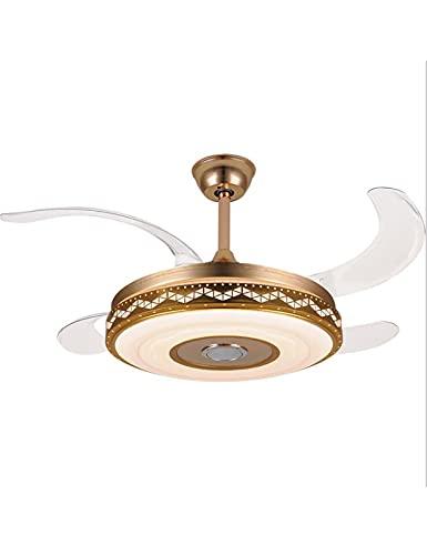 XIAOQIAO Ventiladores de Techo con Lámparas Luz de Techo con Ventilador Silencioso con Control Remoto Negro 48 Pulgadas 4 Aspas de Ventilador, Transmisión Inalámbrica Bluetooth 4.0