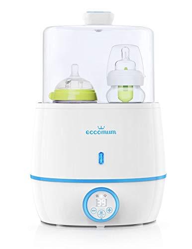 6-in-1 Flaschenwärmer Baby, Eccomum Doppel Flaschen Babykostwärmer & Sterilisator mit LCD-Display, Genaue Temperaturregelung, Konstante Betrieb, Passend für alle Babyflaschen