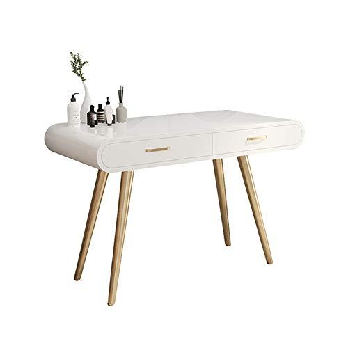 Table de Maquillage avec Miroir Table Vanity Maquillage Table 2 tiroirs (Couleur : Blanc, Taille : 100x40x75cm)