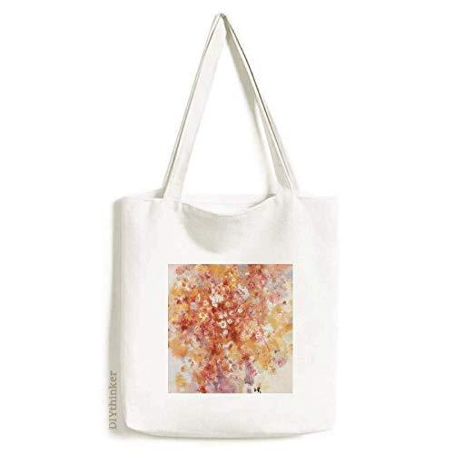 Bolsa de lona com pintura a óleo de verão e flor de natureza morta bolsa de compras casual bolsa de mão