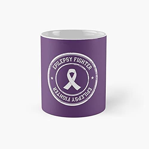 Epilepsy Fighter 4 Classic Mug - Ceramic Coffee White (11 Ounce) Tea Cup Gifts For Bestie, Mom And Dad, Lover, Lgbt