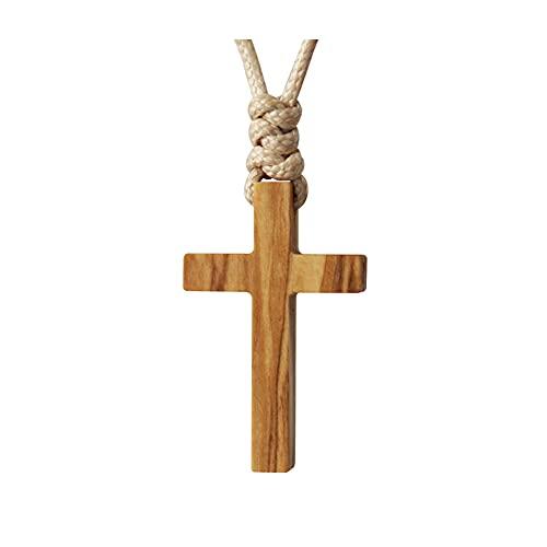 Collar Colgante de Cruz de Madera de Aceituna Olivo Oliva Natural Para Hombres Mujeres Niños Niño Niña Regalo Collar de Madera