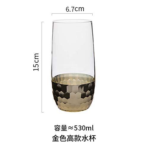 FEJK Glace de Tasse de café avec la Tasse en Verre de Petit déjeuner de Lait de Verre 530ml Coupe d'eau élevée d'or