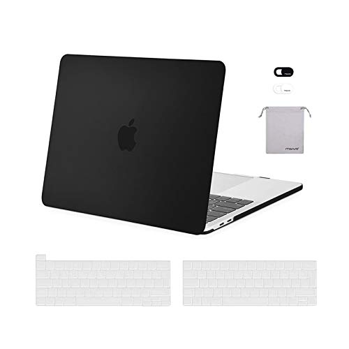 MOSISO Case Compatibile con MacBook PRO 13 Pollici 2016-2020 A2338 M1 A2289 A2251 A2159 A1989 A1706 A1708, Custodia Rigida in Plastica&Cover per Tastiera&Copertura Webcam&Storage Bag, Nero