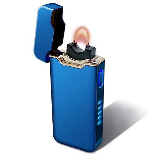 Upgraded Electric arc Lighters, Ultra-High Power USB Open Flame Lighters with Power Indicator Lights, Used for Cigarettes, Candles, Home, High-End Gift Choice. (Bright Blue)
