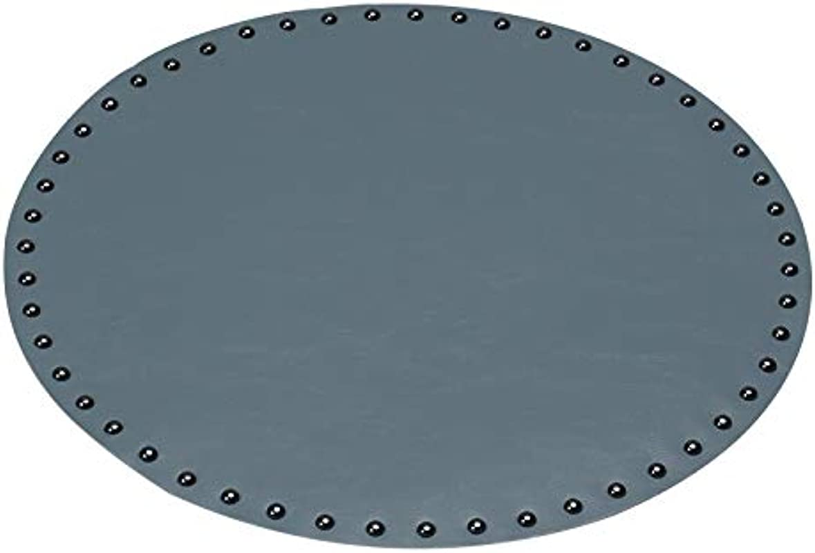 HARTING Luxury Creative Tableware Placemat PU Leather Pad Dining Table Mat Waterproof Heat Insulation Non Slip Placemats Diameter 38cm Set Of 4 Grey Blue