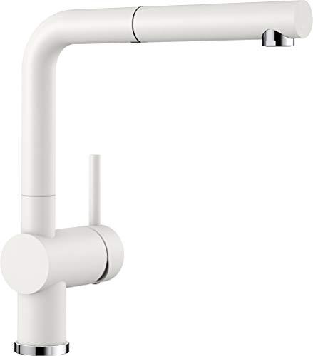 BLANCO LINUS-S – Küchenarmatur im SILGRANIT-Look mit herausziehbarem Auslauf – Hochdruck – Weiß – 516692