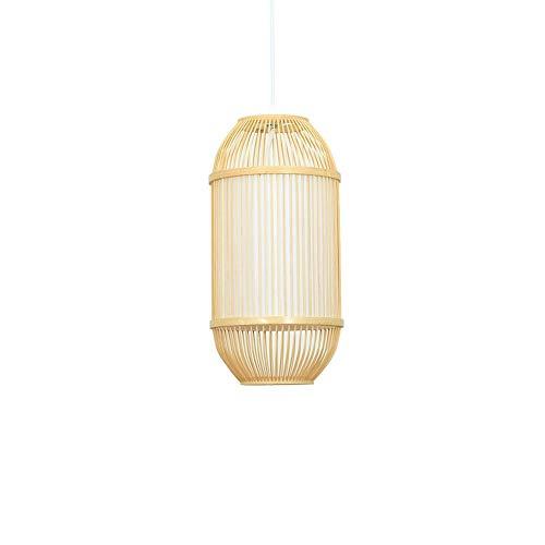 Xungzl Estilo japonés Simple Linterna Forma araña Sureste Asia bambú Mimbre Colgante iluminación Tejido a Mano Nostalgic lámpara Decorativa Retro Chino casa de vacío