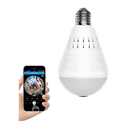 Yuyanshop Cámara de bombilla, 960P de seguridad inalámbrica IP de 360 grados con visión nocturna, alarma, detección de movimiento, audio bidireccional para monitor de bebé y mascotas