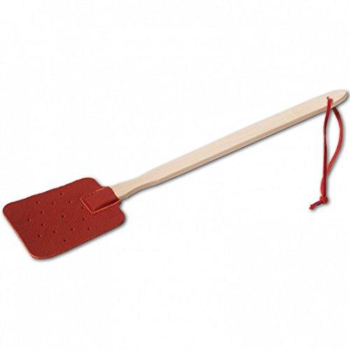 Fliegenklatsche, Holzstiel und Lederteil, mit Lederband rot