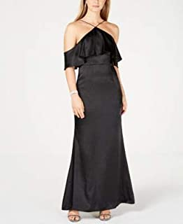 ADRIANNA PAPELL Womens Black Cold Shoulder Gown Halter Full-Length Evening Dress US Size: 18