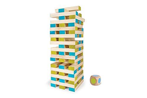 BS TOYS GA277 Großer Jenga-Turm mit Würfel - Geschicklichkeitsspiel für Kinder & Erwachsene - Für Indoor & Outdoor - Gesellschaftsspiel, für Kindergeburtstag & Party - Ab 4 Jahren