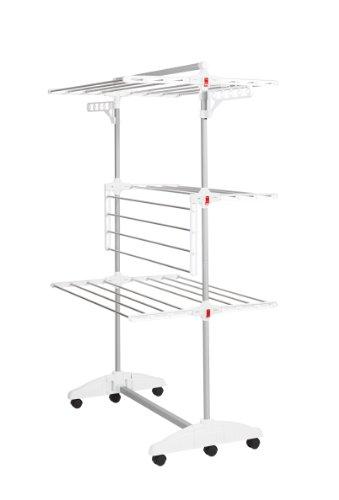 Hanuri - Stendibiancheria One Touch pieghevole con rotelle, bianco, acciaio inossidabile