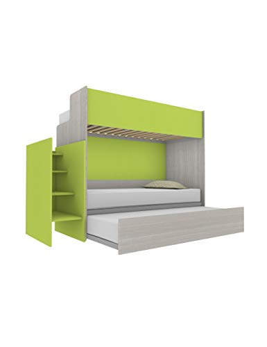 Woody - Litera funcional de diseño, con tercera cama extraíble y elevable, 80 x 190 cm. Escalera de contención incluida. Color blanco efecto madera y verde lima.