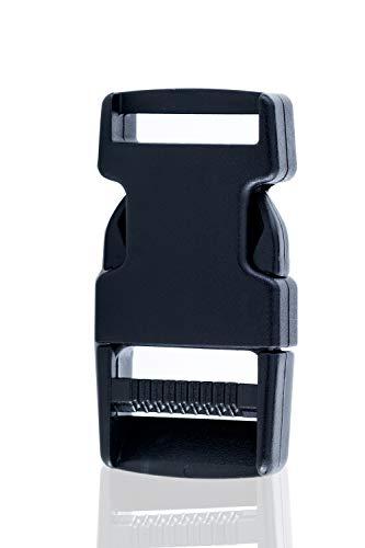 Sunmondo Steckschnallen 2 Stück 25mm - Steckverschluss, Kunststoff Klickverschluss, Klippverschluss, Steckschließer, Steckschnalle, Ersatzschnalle, Buckle für Rucksack, Klippverschlüsse für Rucksack