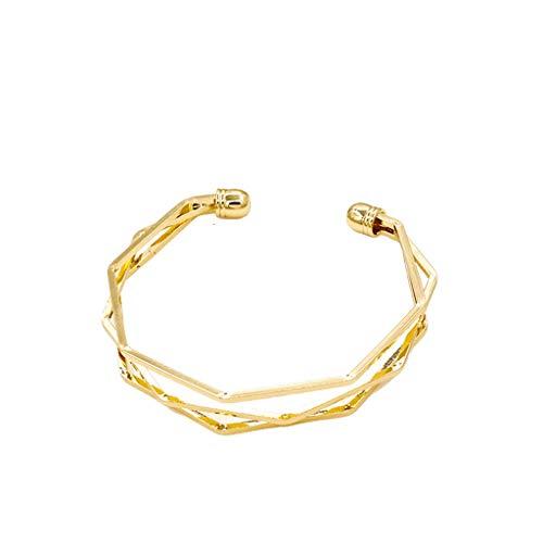 Family Needs Verstelbare vijf lagen Bangle Ongecompliceerde Mellisonant Persoonlijkheid Rhombus Small Fresh koppels armband vriendin gift (Color : Golden2053)